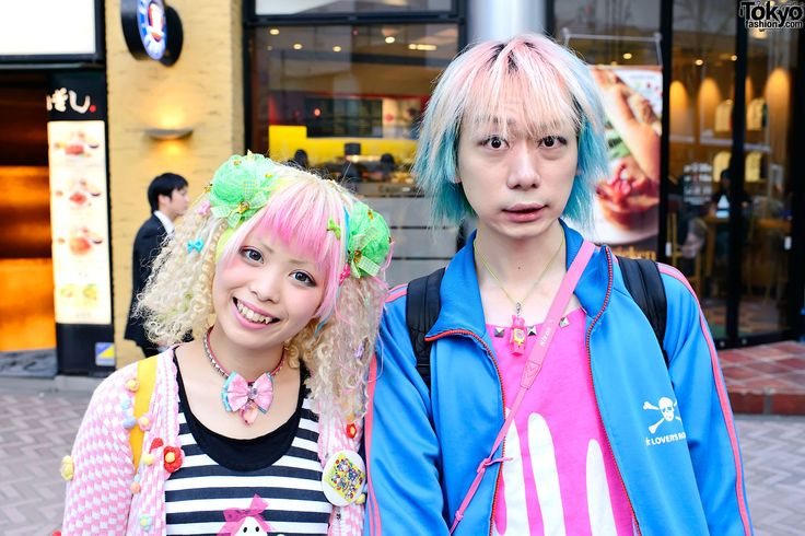 Here are two super-colorful and kawaii Harajuku Kids on the street in Shibuya. Kurebayashi is a model for the Japanese fashion magazine Kera and Junnyan works for the Japanese fashion brand Super Lovers.