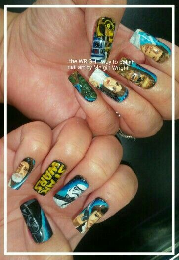 Star Wars hand painted nail art by Melgin Wright!http://www.facebook.com/TheWrightWayToPolishNailArtByMelginWright  Instagram: the_wright_way_to_polish  http://pinterest.com/melginswright/boards/