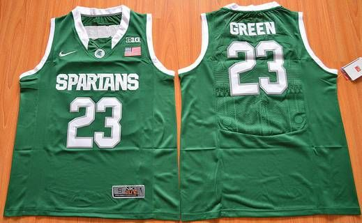 Men's Michigan State Spartans #23 Draymond Green Green College Basketball Rugby Jersey