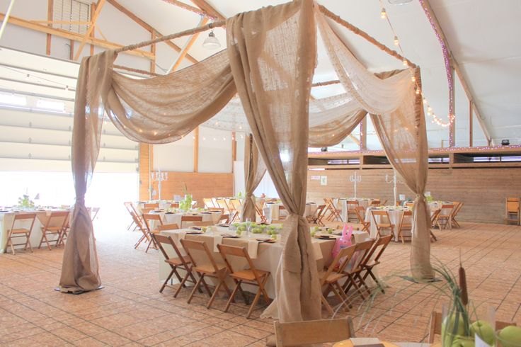 Rustic Burlap Arbor w/ green apples and Ivory linen ...