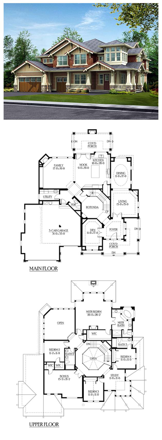 #Luxury #HousePlan 87574 has 4084 square feet of living space, 4 bedrooms and 3.5 bathrooms with a #craftsman exterior. Main floor: 3 car garage, den, rotunda, living, dining, kitchen & nook, powder room, family room and utility room. Upstairs: study, master suite, bonus room and three smaller bedrooms.