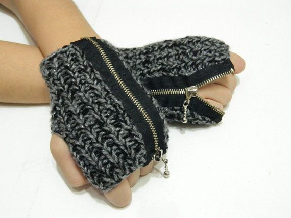 Knitted fingerless Gloves with zipper Mittens by EmofoFashion, $22.00