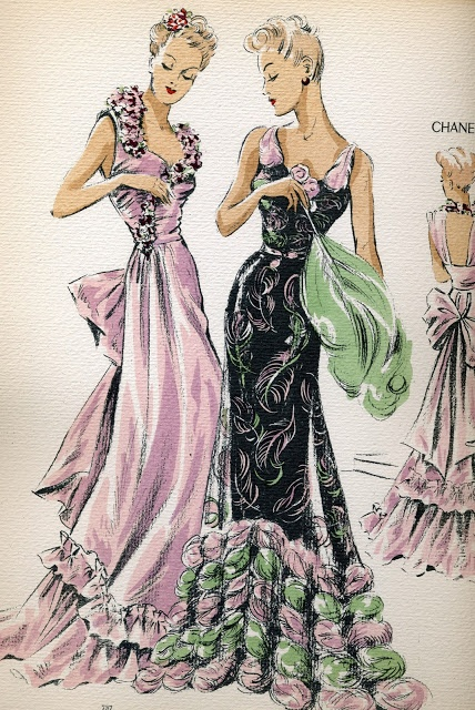 Talk about inspiration! From a 1940 book of fashion illustration. (Evening gowns)