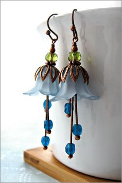 Vintage style  blue  flower blossom earrings $32    #ORLYNails, #ORLYCoolRomance