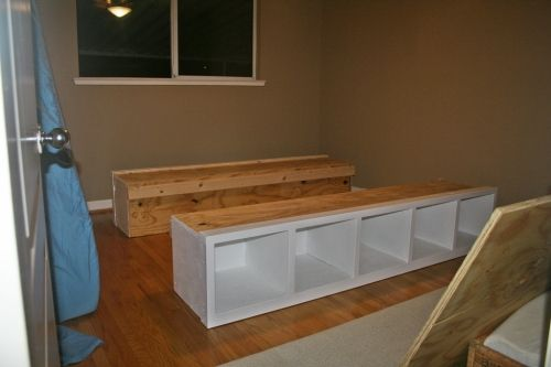 DIY platform bed frame. I love everything they've done with this bed DIY. just needs a headboard!