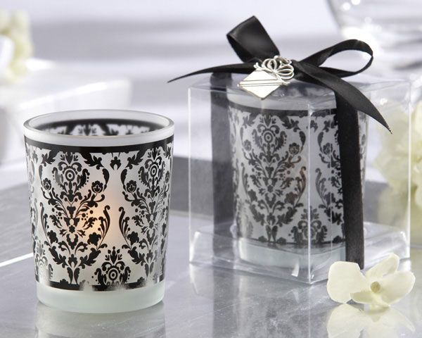 """#Damask #Favors #Candle -""""Damask Traditions"""" Frosted Glass Tea Light Holder with Kate Aspen Signature Charm (Set of 4)  Item: 20093BK"""