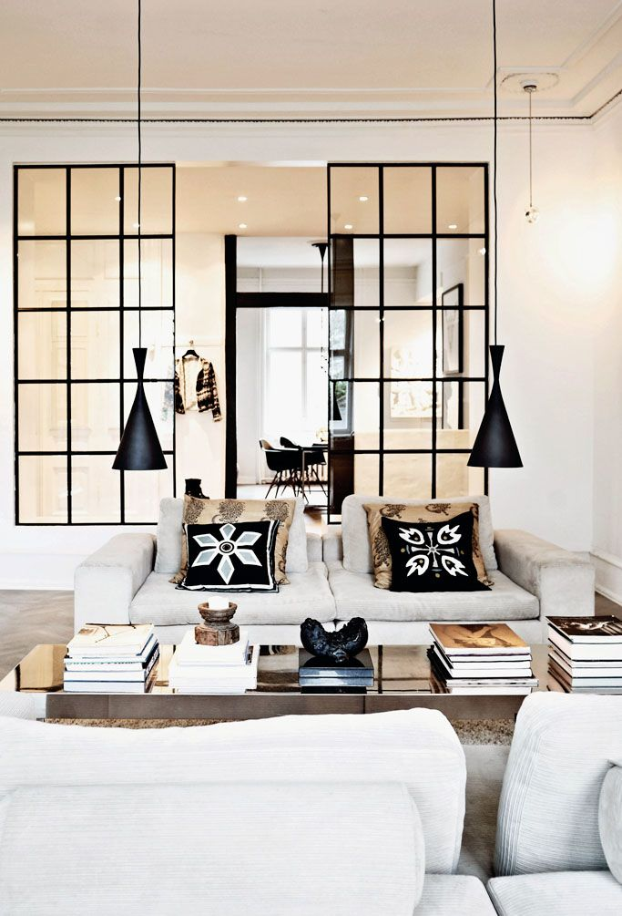 MMMMmmmmm low lights and black window paynes, also coffeee table pants moistener. Interior Design | Danish Apartment - DustJacket