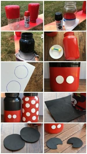 How to make Mickey and Minnie Mouse mason jars. The instructions for this project are here, in these pictures. I think they're pretty easy to follow. Enjoy! by joni