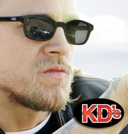 The Original KD's Biker Sunglasses!   Yes, the sunglasses that Jax Teller and other Sons of Anarchy club members wear are The Original KD's. KD's are the #1 Selling Biker Sunglasses in the world! These little black framed sunglasses have been extremely popular with bikers for over 60 years because they stay on your head and keep the wind out of your eyes by fitting tightly on the temples and nosebridge.  Black frame with smoke lens.