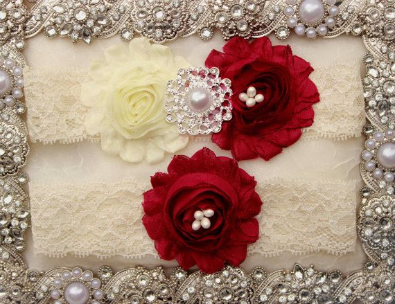 Burgundy Wedding - Burgundy Red Garter, Wine Red Wedding Garder, Maroon Wedding Color Garter, Plus Size Bridal Garters Winter Wedding by WeddingGarterShop