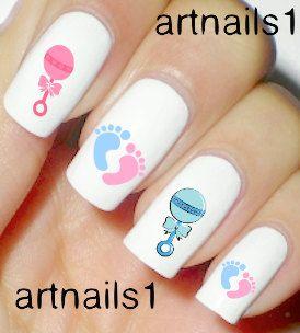 Baby Pink Blue Nails Nail Art Polish Manicure Boy Girl Shower Mani Pedi Nail…