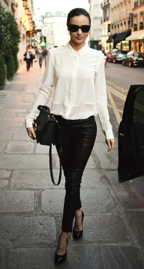 Miranda Kerr #styleMirandakerr, Miranda Kerr, Fashion Style, Black And White, White Shirts, Outfit, Black White, White Blouses, Leather Pants