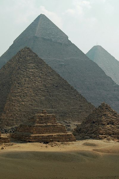 """The Great Pyramids of Giza were originally bright white.  When the pyramids were originally finished, they were plated in an outer layer of white """"casing stones"""" which were cut with astounding precision to give a smooth slope to the pyramids, unlike how they appear today with the outer stones more or less forming very large steps.  They were made of highly polished Tura limestone, meant to reflect the sun's rays, and fitting together w an accuracy of 1/100th of an inch."""