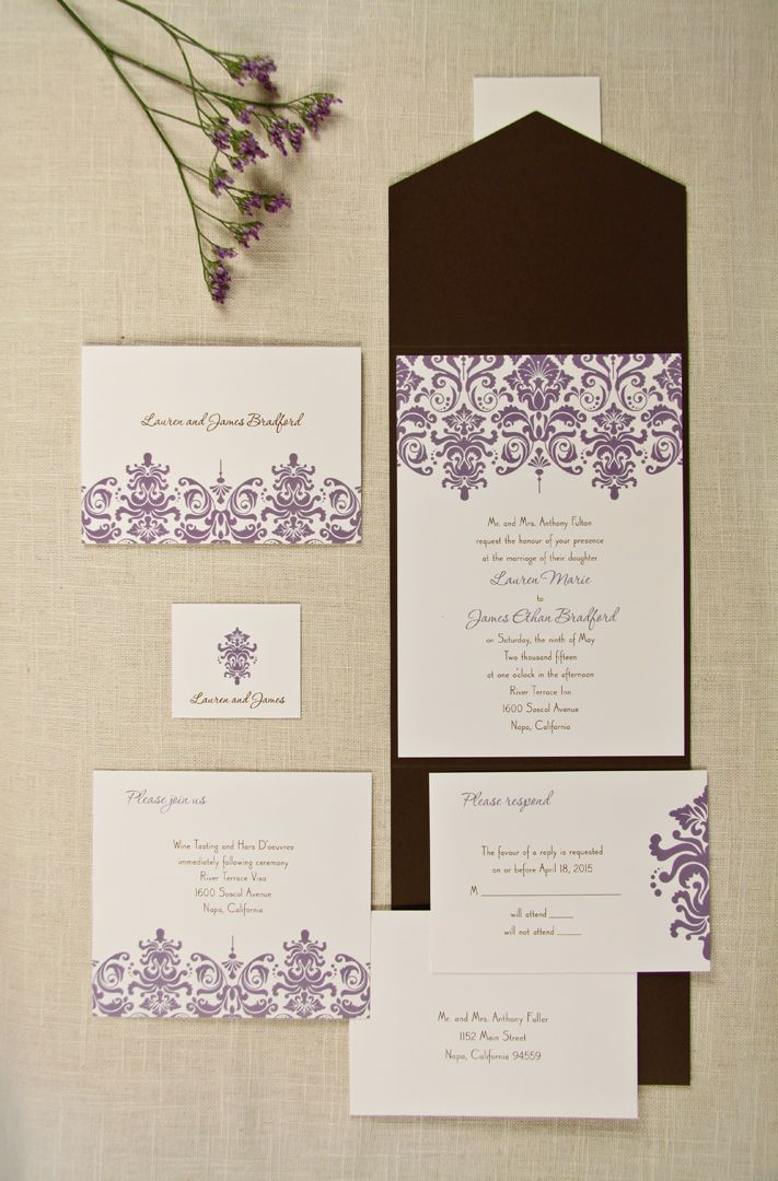 lotus flower wedding invitations%0A Chocolate Brown and Lavender Purple Wedding Invitations Special day Wedding  Wedding Inspiration