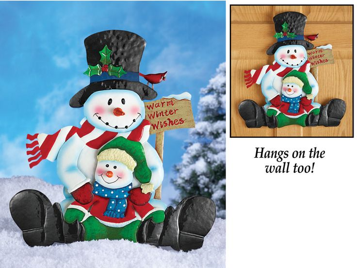 Snowman Garden Stake Holding Child-Cute! Snowman Garden Stake Holding Child ,how cute is this!? If you love Snowmen like I do,you will love this! These sweet, smiling snowmen greet your guests with warm winter wishes! Anchor this adorable hand-painted metal stake anywhere in your yard, or hang it on a wall with the hook included. Iron. 16 3/4″L x 23″H including stake. http://kittykatkoutique.com/snowman-garden-stake-holding-child-cute/