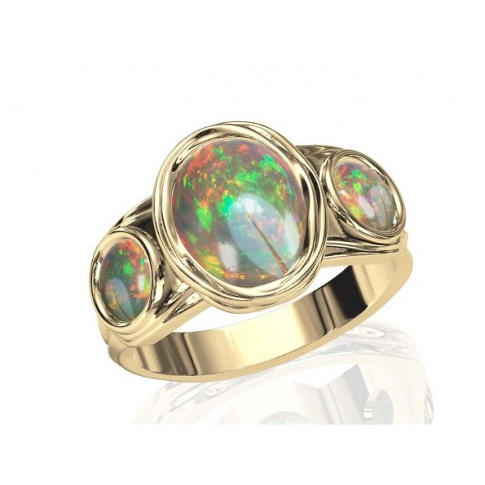 Breathtaking Opal Engagement and Wedding Ring in Sterling Silver, 14K or 18K Gold by Anderson-Beattie.com