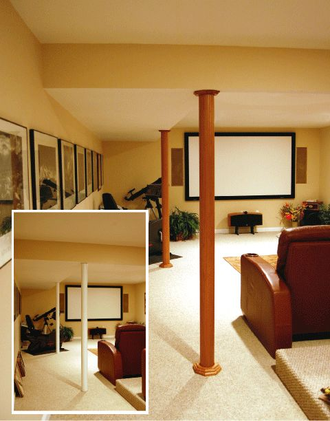 Pole Wrap Was Used Here To Cover The Lally Columns In This Basement Theater
