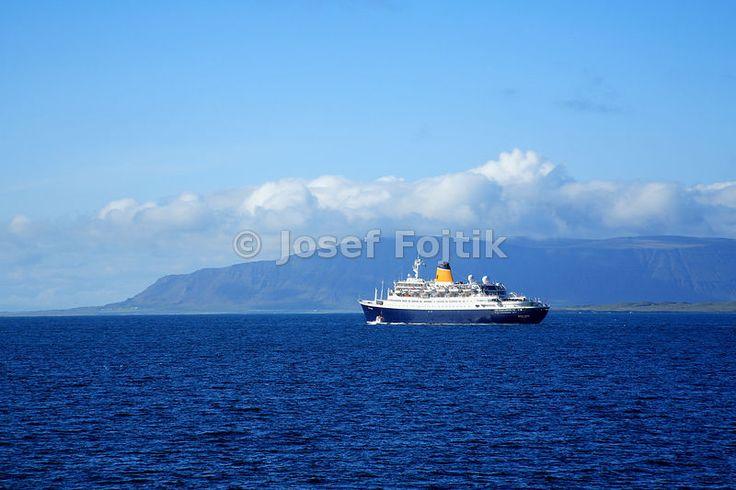 Saga Rose cruise ship leaving Reykjavik, Iceland