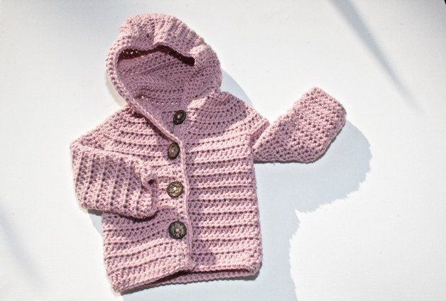 Babyoutfit: Gestrickte Kapuzenjacke für Kinder, Baby Cardigan aus Merino Wolle / baby outfit: knitted jacket for kids, baby cardigan made of merino whool made by for-little-monsters via DaWanda.com