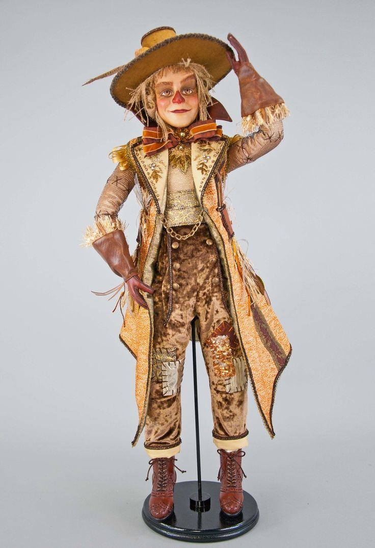 """Katherine's Collection The Gilded Seasons Collection 32"""" Gilded Scarecrow Doll Free Ship"""