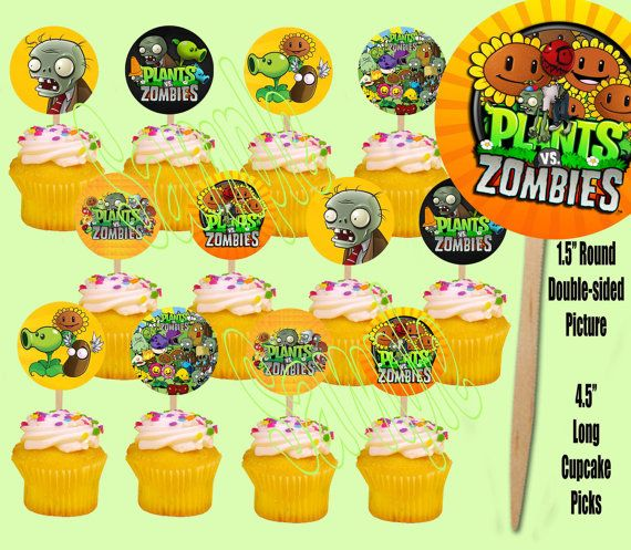 Plants Vs. Zombies Video Game Cupcake Picks By