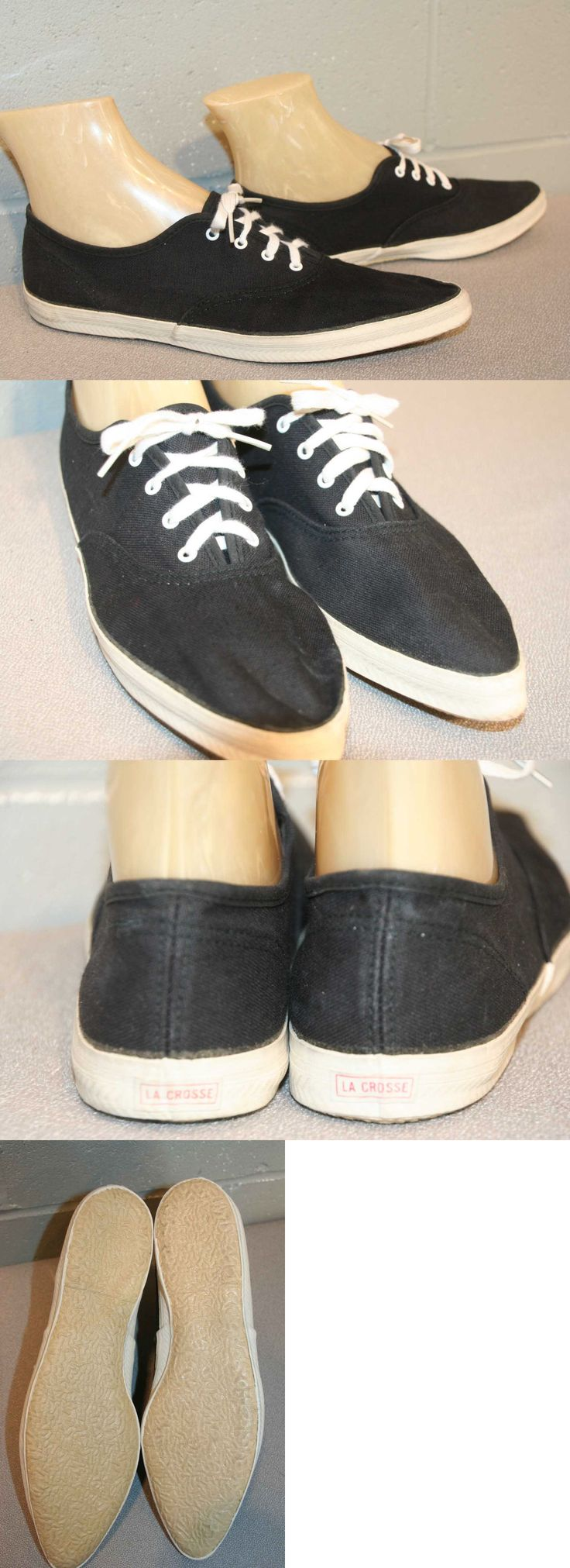 Womens Vintage Shoes 74976: 8.5 Nos Vtg 60S 70S Black La Crosse Tennis Sneaker Canvas Hipster Pointed Shoe -> BUY IT NOW ONLY: $36 on eBay!