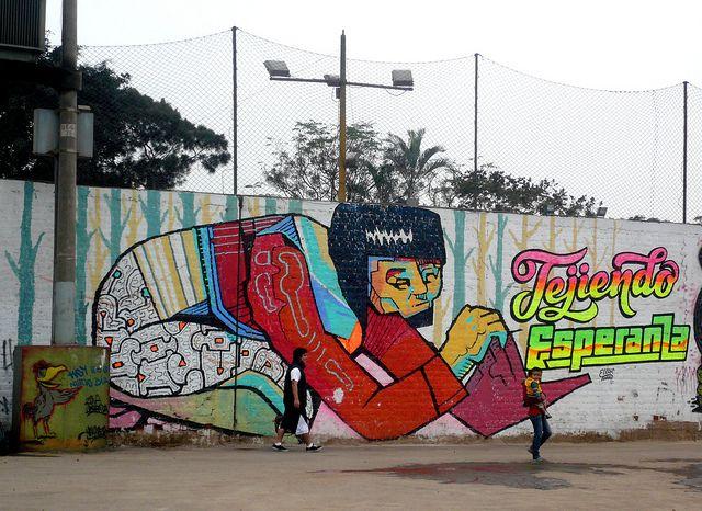 """comunidad shipiba """"Cantagallo""""  by El Decertor, via Flickr    cantagallo fest - realizado el 25 de junio.. letras de elliot tupac.... mural de tejedora realizado con rodillo, extension y pintura satinada."""