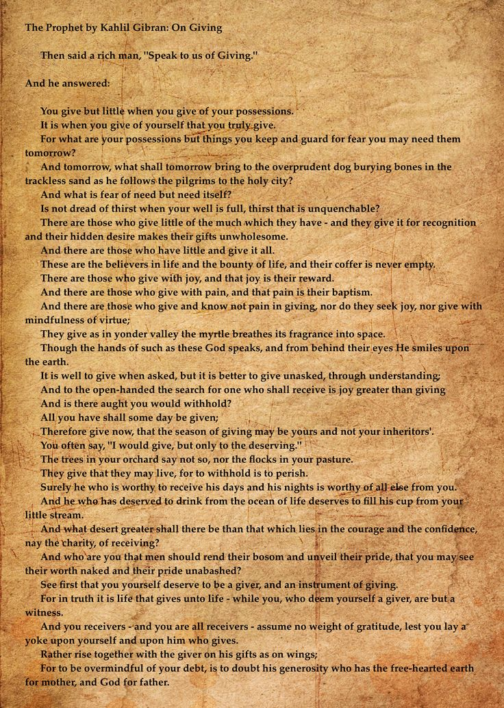 The prophet by khalil gibran on