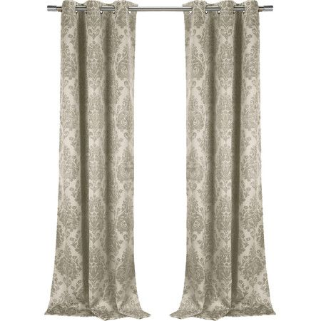 Bring a touch of chic style to your living room or master suite with this eye-catching curtain, showcasing a damask motif and blackout design.