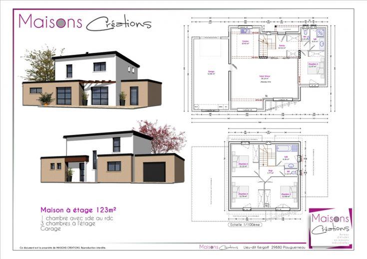 Super Plan maison 110 m2 etage WX11 plan maison Pinterest - modele maison a construire