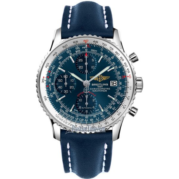 Breitling Navitimer Heritage a1332412/c942/105x Watch ($4,907) ❤ liked on Polyvore featuring men's fashion, men's jewelry, men's watches, stainless steel, men's blue dial watches, breitling mens watches, mens stainless steel watches and mens blue watches