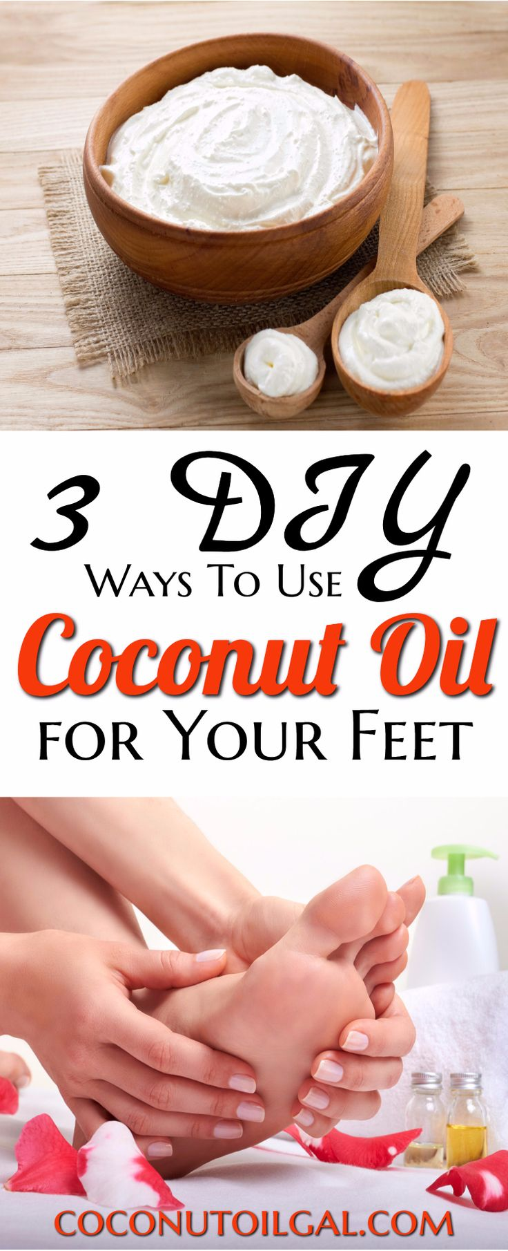 3 DIY coconut oil foot creams that are easy and take no time at all to make. These 3 easy ways to use coconut oil on your feet will help with dry skin, cracking, and fungus. My favorite is the shea butter and coconut oil foot cream!