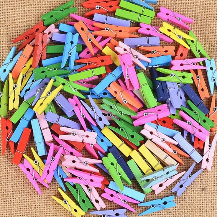 50pcs Mini Colorful Wooden Clip Office Supplies Photo Memo