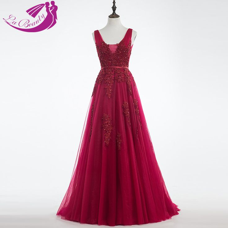 Find More Prom Dresses Information about Burgundy Prom Dresses Vestido De Formatura V Neck Sleeveless Sweep Train Tulle Applique Beaded Lace Long Prom Dresses WB131,High Quality dress open,China dress up casual dress Suppliers, Cheap dress beyonce from Beautydress on Aliexpress.com