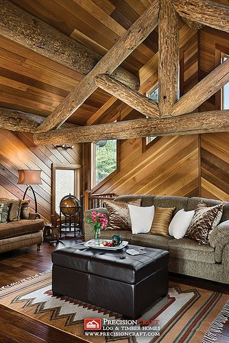 It Draws The Eye In And Centers The Room. Roger Wade Studio Interior  Photography Of Loft Sitting Area With Diagonal Wood Paneling, Private Log  Home, ...
