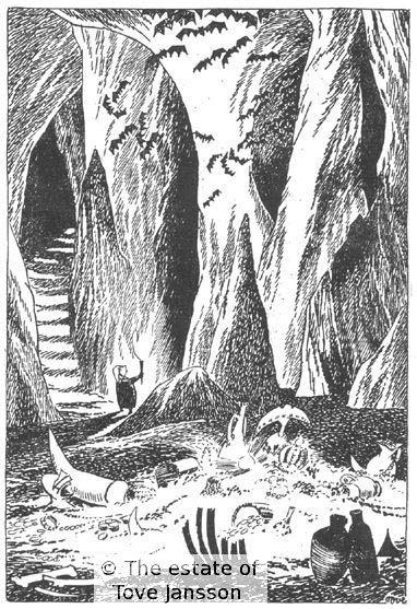 Tove Jansson's illustrations to J. R. R. Tolkien: Bilbo – en hobbits äventyr, Rabén & Sjögren, 1962, p. 239 - bilbo looking at the treasure