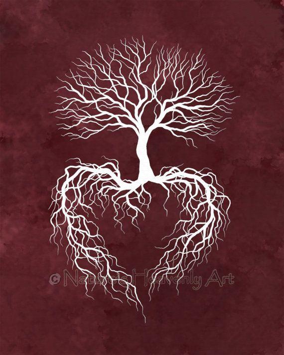 8 x 10 Print, Winter Tree Roots Wall Art, Burgandy Home Decor, Heart Art, Tree Branches Art Print (21)