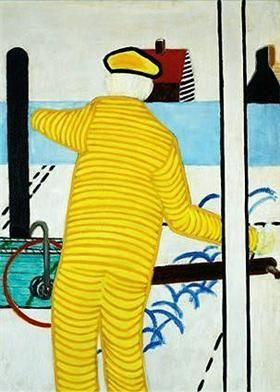 Yellow man with Trolley - Roger Raveel
