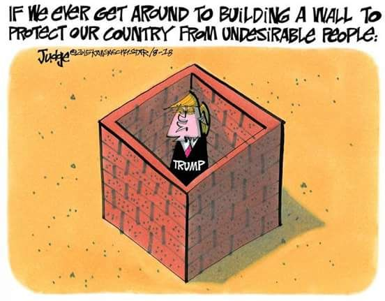 Cartoon Trump Building Wall
