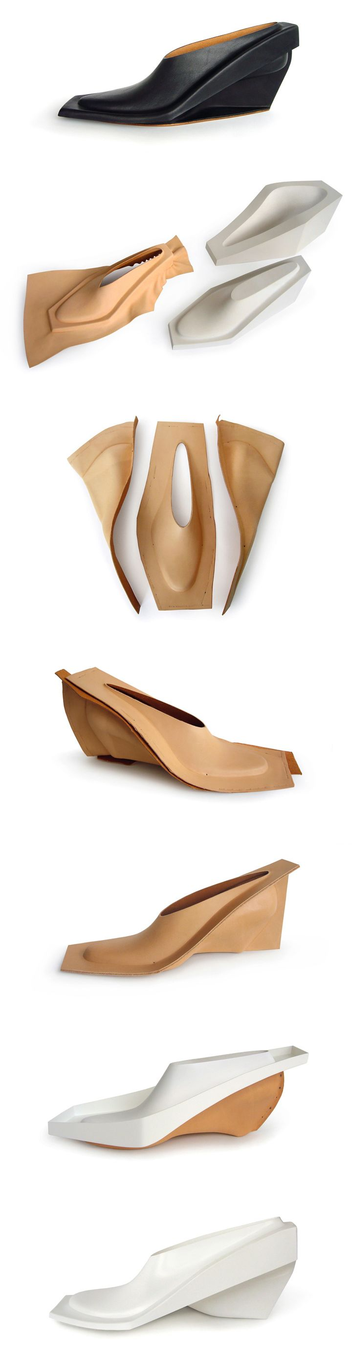 Pressedleathershoe / 2011  Materials: leather and plastics  Made using a leather processing technique in which leather is soaked in water and pressed in between a two-part mould, forming it into a three-dimensional shape. The leather parts are then dried, cut and assembled into one shoe, embedding the structure that gives the shoe it's strength. On display are material tests, mould parts, vacuum formed design tests and the final shoe.
