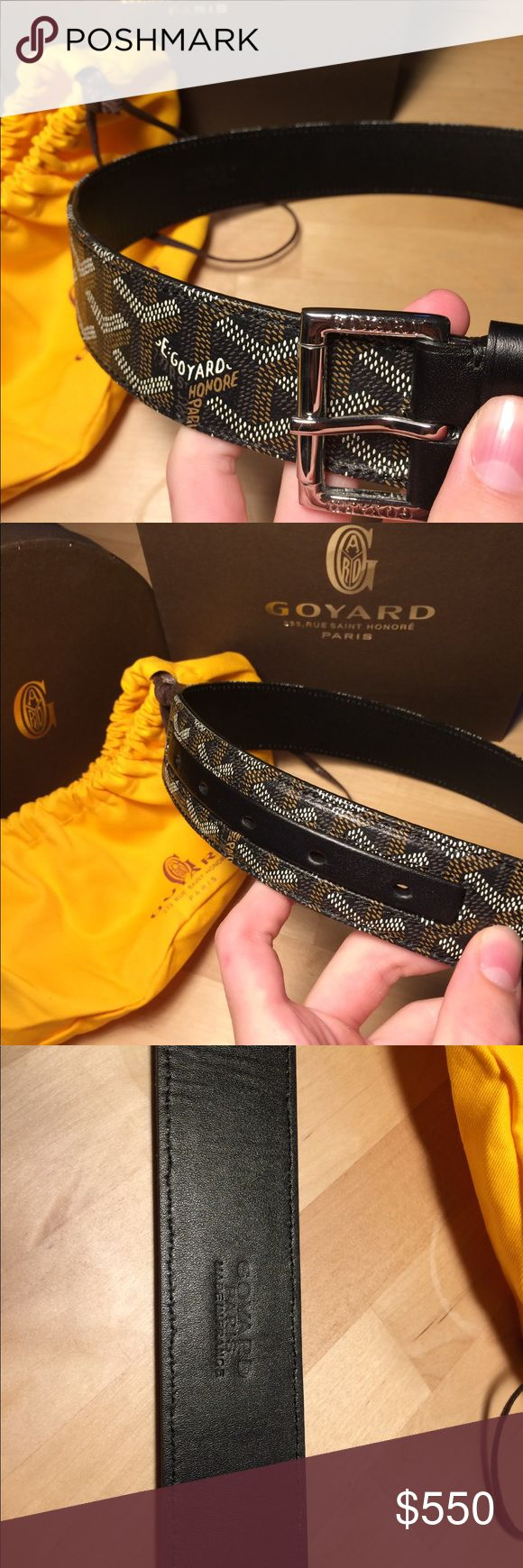 Goyard Belt This belt is near mint. Worn only once there isn't any creasing of any kind. I am selling because I purchased the black with the brown accent where the holes are and that's my daily belt. I'm selling for very cheap for an authentic, near mint Goyard Belt. If you have any questions feel free to ask. Goyard Accessories Belts