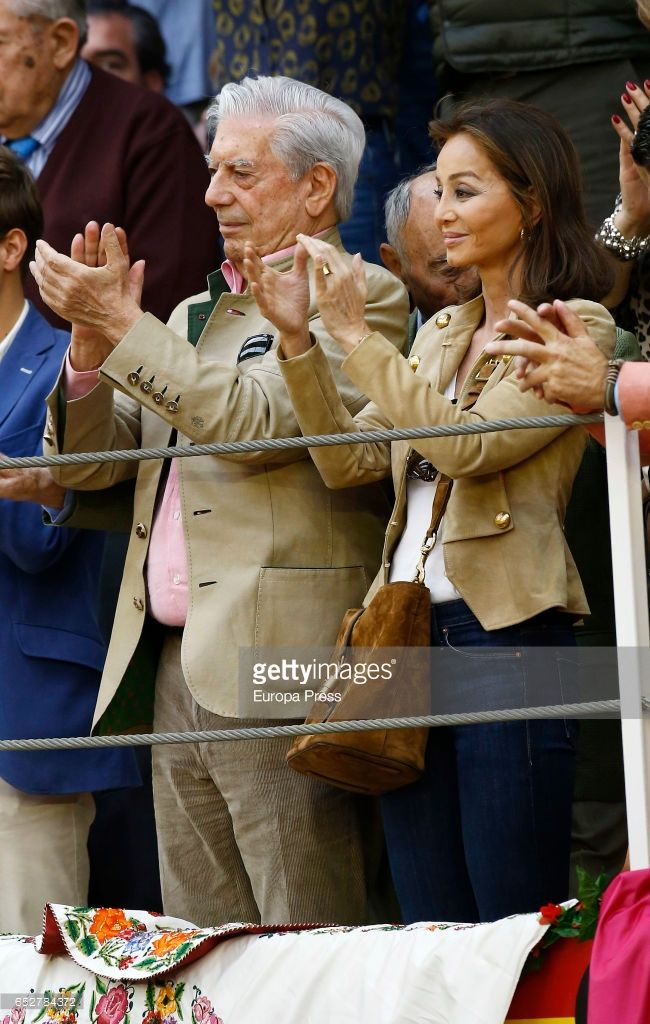 Mario Vargas Llosa and Isabel Preysler attend the traditional Spring Bullfighting performance on March 11, 2017 in Illescas, Spain.