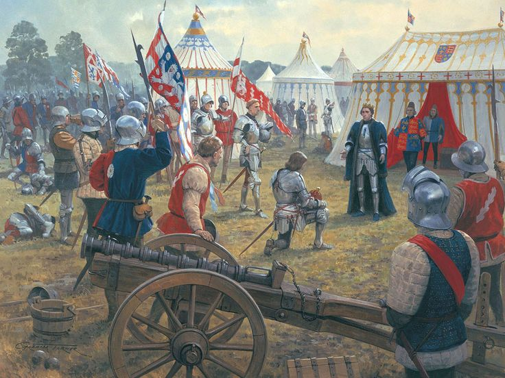 Battle of Northampton by Graham Turner. Edward, Earl of March, kneels before Henry VI and proclaims his loyalty, having defeated the Royal army at Northampton on 10th July 1460. The Earl of Warwick and Yorkist troops look on, while one of the guns that failed to fire in the rain stands impotently in the foreground.