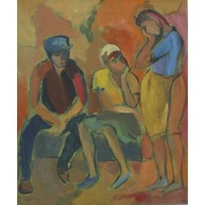 Three figures in Conversation