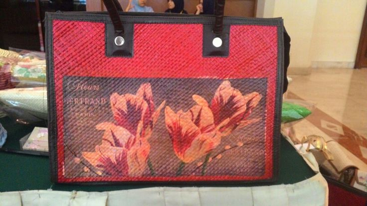 Decoupage on red pandanus tote bag