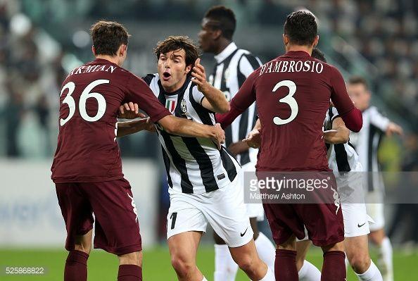Matteo Darmian of Torino holds back Paolo De Ceglie of Juventus... #cegliemessapico: Matteo Darmian of Torino holds back… #cegliemessapico