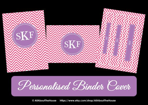 Printable Chevron Binder Cover & Spine-Desktop Background-Binder Cover-Personalised-Monogram Binder Cover-Monogram Stationery-Preppy-Back to School Stationery Available from: https://www.etsy.com/au/listing/157341733/printable-chevron-binder-cover-spine