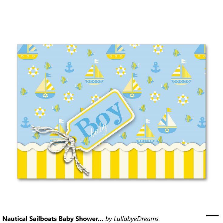 Convites náuticos do chá de fraldas dos veleiros cartão de visita grande