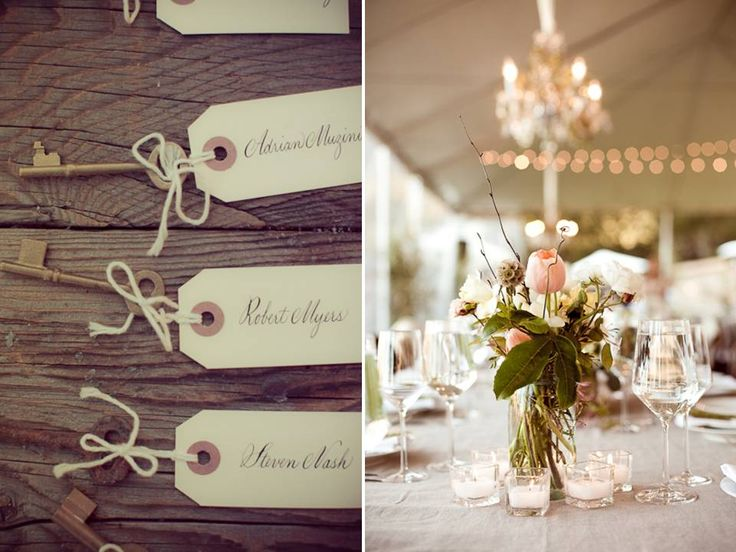 You get a key at wedding leading you to table at the reception!: Old Keys, Romantic Vintage Weddings, Idea, Names Tags, Soft Colors, Vintage Wardrobe, Colors Palettes, Places Cards, Outdoor Receptions