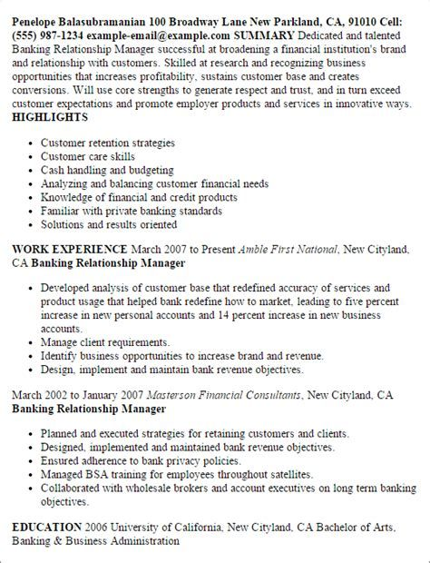 Sample Resume Business Banking Relationship Manager